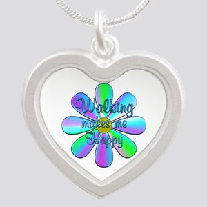 Walking Happy Silver Heart Necklace