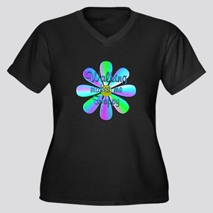 Walking Happ Women's Plus Size V-Neck Dark T-Shirt