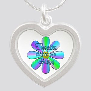 Theatre Happy Silver Heart Necklace