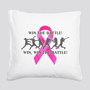 Fast Pitch Softball Win the B Square Canvas Pillow