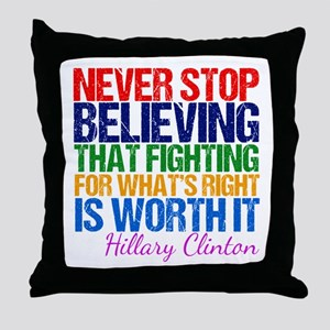 Hillary Motivational Fight Throw Pillow
