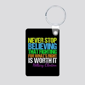 Hillary Motivational Fight Aluminum Photo Keychain