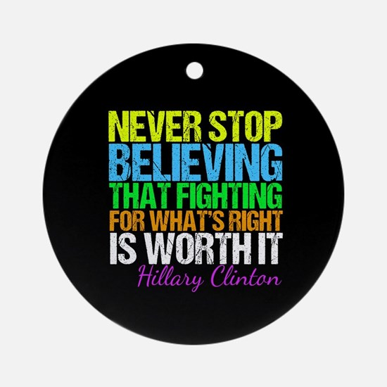Hillary Motivational Fight Round Ornament
