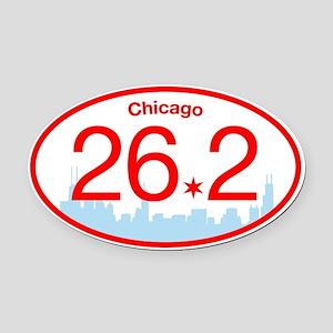 Chicago Marathon Bright Oval Car Magnet