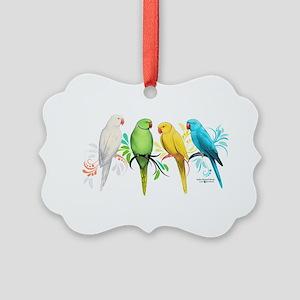 Indian Ringneck Parrots Picture Ornament