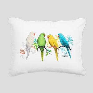 Indian Ringneck Parrots Rectangular Canvas Pillow