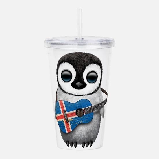Baby Penguin Playing Icelandic Flag Guitar Acrylic