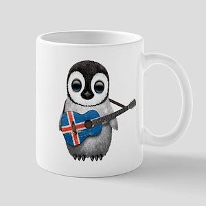 Baby Penguin Playing Icelandic Flag Guitar Mugs