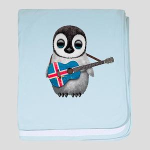 Baby Penguin Playing Icelandic Flag Guitar baby bl