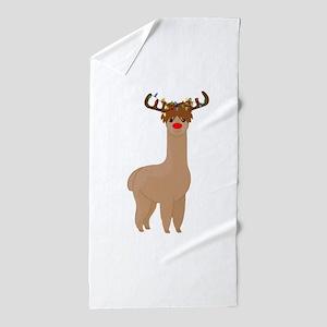 Christmas Llama Beach Towel