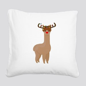 Christmas Llama Square Canvas Pillow