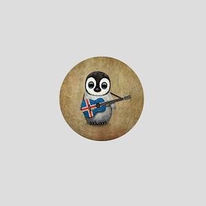 Baby Penguin Playing Icelandic Flag Guitar Mini Bu
