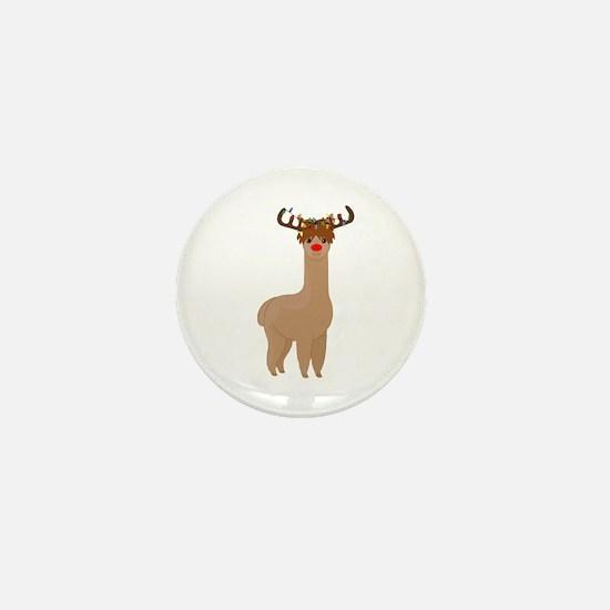 Christmas Llama Mini Button