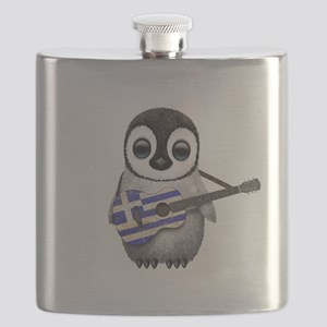 Baby Penguin Playing Greek Flag Guitar Flask