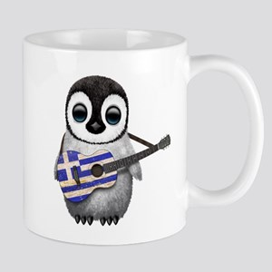 Baby Penguin Playing Greek Flag Guitar Mugs