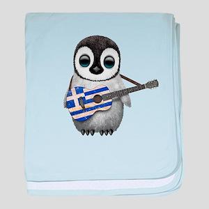 Baby Penguin Playing Greek Flag Guitar baby blanke