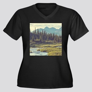 Mountain Mea Women's Plus Size V-Neck Dark T-Shirt