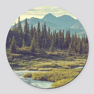 Mountain Meadow Round Car Magnet