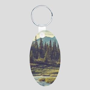 Mountain Meadow Aluminum Oval Keychain