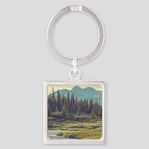 Mountain Meadow Square Keychain