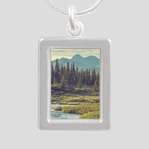 Mountain Meadow Silver Portrait Necklace