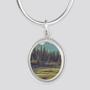 Mountain Meadow Silver Oval Necklace