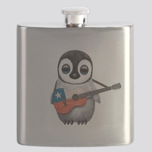 Baby Penguin Playing Chilean Flag Guitar Flask