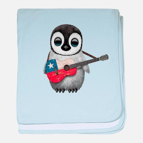 Baby Penguin Playing Chilean Flag Guitar baby blan