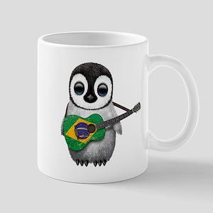 Baby Penguin Playing Brazilian Flag Guitar Mugs