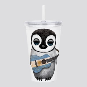 Baby Penguin Playing Argentine Flag Guitar Acrylic