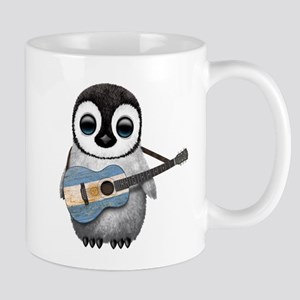 Baby Penguin Playing Argentine Flag Guitar Mugs
