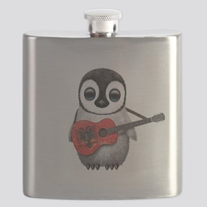 Baby Penguin Playing Albanian Flag Guitar Flask
