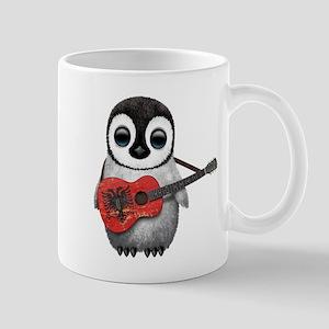 Baby Penguin Playing Albanian Flag Guitar Mugs