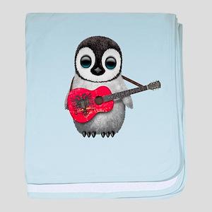 Baby Penguin Playing Albanian Flag Guitar baby bla
