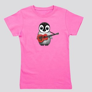 Baby Penguin Playing Albanian Flag Guitar T-Shirt