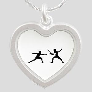 Fencing Silver Heart Necklace