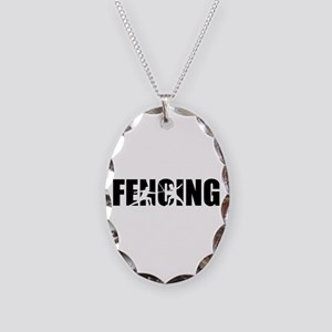 Fencing Necklace Oval Charm