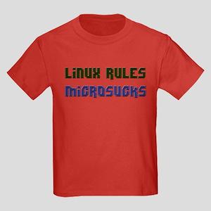 Linux Rules...Microsucks Kids Dark T-Shirt