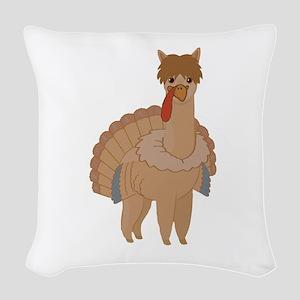 Thanksgiving Llama Woven Throw Pillow