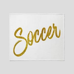 Soccer Gold Faux Foil Metallic Glitt Throw Blanket