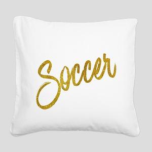 Soccer Gold Faux Foil Metalli Square Canvas Pillow