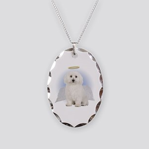 Angel Bichon Frise Necklace Oval Charm