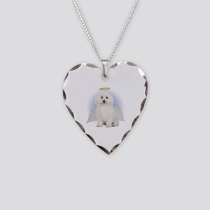 Angel Bichon Frise Necklace Heart Charm
