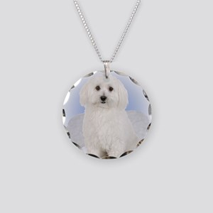 Angel Bichon Frise Necklace Circle Charm
