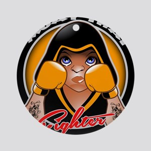 Muay Thai fighter Round Ornament