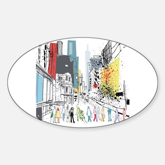 Cool Abstract street Sticker (Oval)