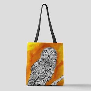 Owl on Orange Polyester Tote Bag