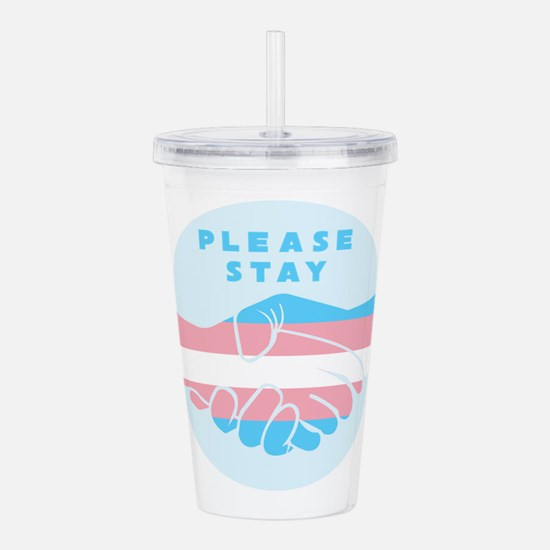 Please Stay Trans Acrylic Double-wall Tumbler