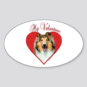 Collie(roughsable) Valentine Oval Sticker