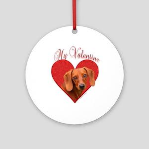 Dachshund Valentine Ornament (Round)